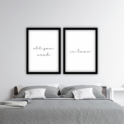"""Kit Quadros Minimalista Frase """"All You Need is Love"""""""