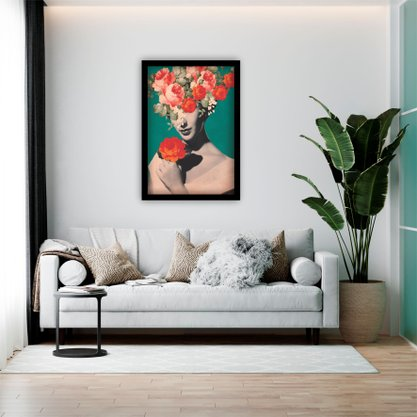 Quadro Decorativo Woman With Pink Flowers